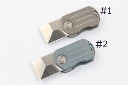Wholesale Wholesale Keychain Knives - 2Pcs lot Keychain Clasp Knife D2 Satin Finish Blade TC4 Titanium Handle EDC Pocket Foding Knives Xmas Gift EDC