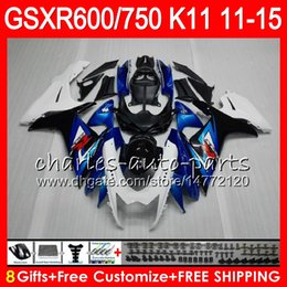Wholesale Zx6r Factory Fairings - Injection For SUZUKI GSXR750 GSXR600 11 12 13 14 15 16 GSX R600 R750 Factory blue 6M21 K11 GSX-R600 GSXR 600 750 2011 2012 2013 2015 Fairing