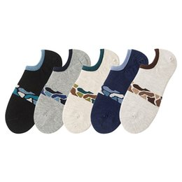 Wholesale Cool Boys Slippers - One Lot 20 Pairs Simple Design Cool Camouflage Jacquard Knitting Cotton Boat Socks For Boys Mens
