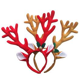 Argentina Lindo Adulto y Niños Diadema de Navidad Hot Elk Antlers Reno Bell Headwear Hair Band Moda felpa Decoración de Navidad Hairbands cheap xmas hair decorations Suministro