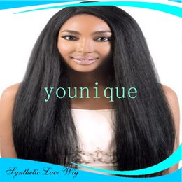 Wholesale Kinky Straight Synthetic Lace Wigs - 8A Grade Long Black Yaki Kinky Straight Synthetic Lace Front Wig High Density Lace Front Wigs Fiber Synthetic Hair Wigs For Balck Women
