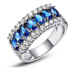Wholesale Women Blue Topaz Wedding Ring - Size 6 7 8 9 Wholesale High quality Luxury Jewelry 925 Sterling Silver Top Sell Multi Color Blue Sapphire Women Wedding Finger Ring Gift