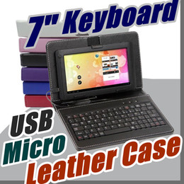 Wholesale White Case Tablet - 2017 Leather Case with Micro USB Interface Keyboard for 7 inch MID Tablet PC A-JP