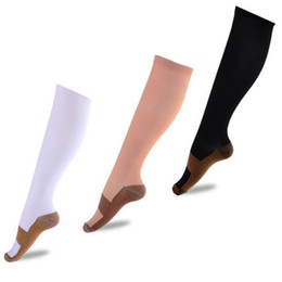 Wholesale Men Compression Stockings - Men Women Anti-Fatigue Compression Socks Pain Relief Soft Miracle Copper Magic Nylon Support Knee High Stocking Breathable Free Shipping