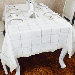 Wholesale Lace Table Cloth Wholesale - Simple modern fashion table cloth,White lattice tablecloth,Blended lace cloth,other size can be customized