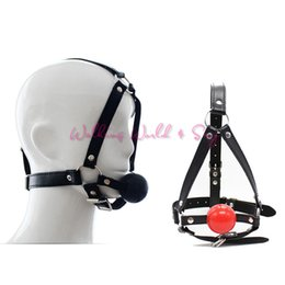 Wholesale Silicon Women Sex Men Toy - Leather Head Harness Bondage Restraints Mask Open Mouth Gag Silicon Ball Toys Sex Games Adult Fetish Product For Women Men