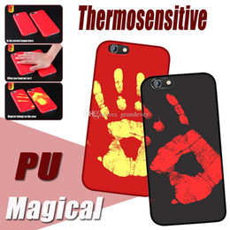 Wholesale Iphone Sense - Thermosensitive Color Change Case Magical PU Fingerprint Temperature Sensing Thermal Sensor Heat Cover For iPhone X 8 7 plus 6 6s SE 5S 5