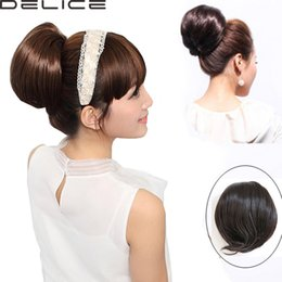 Wholesale Bride Hairpiece - Wholesale- Women's 10 inches 80G Silk Straight Clip in Beauty Hair Bun Hairpieces Synthetic Big Bride Hair Bun Hepburn's Hair PP06