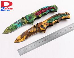 Wholesale Buck Pocket - D2shop BUCK X54 Fast Open Flipper Dogleg Dog leg Blade Desert Rainforest Camo Handle Folding Pocket OEM EDC Knife Tactical Gift Knives Tool