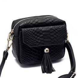 Wholesale Fringed Purses - Fashion Women Simple Alligator Crocodile Leather Mini Small Women Crossbody Bag Tassel Fringed Messenger Shoulder Bag Purse Handbag
