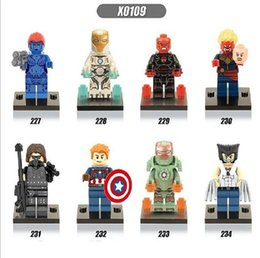 Wholesale Wolverine Hero Doll - bricks minifigures X0109 Super Heroes 8pcs lot Mini Dolls Wolverine Mystique Red Skull Building Blocks Best Children Gift Toys