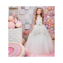 Wholesale Girls Pegeant Dresses - 2017 New Princess Lace Up Sleeveless Pegeant Dress Girl Kids Appliques Bow Evening Ball Gown