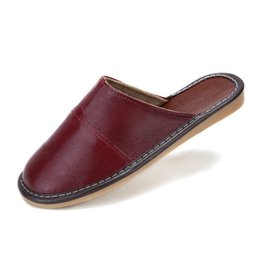 Wholesale wholesale quality flip flops - Wholesale- High Quality Men Women Shoes Full Grain Leather Slippers Summer Home Lover Genuine Leather Indoor Slippers Antiskid Floor Shoes