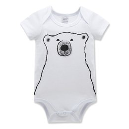Wholesale Panda Bear Patterns - ins baby boy Kids Clothing Jumpsuits Rompers conjoined bear pattern baby triangular jeans panda baby climbing clothes 1156