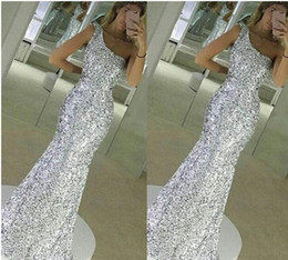 Wholesale Long Sequin One Shoulder Dress - 2017 New Sparkle Bling Silver Prom Dresses Sequins Lace Long Mermaid Sleeveless One Shoulder Floor Length Formal Evening Dress Party Gowns