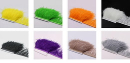 Wholesale Wholesale Ostrich Feathers Boas - 10yards lot Muticolor Long Ostrich Feather Plumes Fringe trim 10-15cm Feather Boa Stripe for Party Clothing Dress skrits Accessories Craft