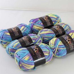 Deutschland Soft 6ballsx50g NewCotton gefärbt Handstricken Wollsocken Schal Baby Garn lila blau gelb gemischt 15 Versorgung