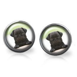 Wholesale Dogs Earring - 10pairs lot Dogs. PUG inspired The game is on earrings Posts Glass photo earrings stud post