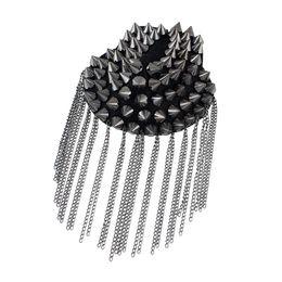 Wholesale Spikes Shoulders - 1 pcs Hot sale Punk style Cool Element Spike Chain Tassels Brooch Shoulder Board