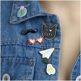Wholesale Colorful Metal Collars - Wholesale- Cute Enamel Metal Pins For Women Clothing Accessories Gold Plated Colorful Enameled Glasses Cat Pear Airplane Collar Brooches