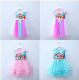 Wholesale Baby Girl Lace Blouse - 2017 new baby girls Moana bow dress summer cartoon Children Moana printing lace dresses Kids Clothing 4 colors