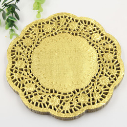 "Wholesale Gold Doilies Wholesale - Wholesale- Creative Craft 7.5"" Inch Round Gold Paper Lace Doilies Cake Placemat Party Wedding Gift Decoration 20pcs pack"