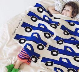Wholesale Multicolor Bedding - INS Baby kids cotton knitting blanket newborn portable car bottle pattern multicolor weaving blanket children cartoon sofa bedding R0128