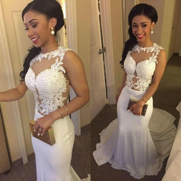 Wholesale Lace Bodice Ruffle Wedding - 2017 Cheap Wedding Dresses Illusion Appliques Mermaid Sexy Sheer Summer Bridal Gowns Vestido De Novia Beach Style