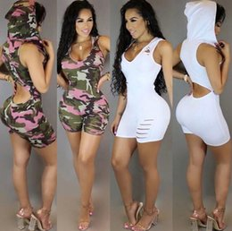 Wholesale Womens Playsuits Short - 2017 Summer Style Floral Print Hoodie One Piece Outfits Shorts Skinny Sexy Hole Womens Skinny Jumpsuits And Rompers Macaquinhos Playsuits