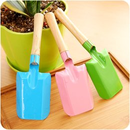 Wholesale Wooden Garden Tools - family use mini garden tools colorful shovel kids tools wooden handle color metal head
