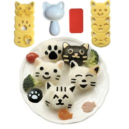 Wholesale Sushi Rice Tools - Lovely Rice And Vegetable Roll Mold Cartoon Cat Shape Sushi Mould Plastic Resuable Bento Molds Kitchen Tool 12zh R R