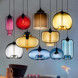 Wholesale Chandeliers Brown Glass - Modern Art glass chandelier Ceiling Lamp Pendant Lights Glass Lampshade Loft Pendant Lamps E27 Lighting Fixture