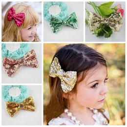 """Wholesale Neon Clip Hair Accessories - 50pcs lot 3.6"""" Neon Sequin Hair Bows WITH Alligator Clips For Baby Girls,Boutique Sequined Knot Bows Hair Accessories"""