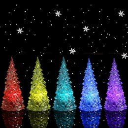 Wholesale Multi Changing Christmas Trees - Christmas Tree Ice Crystal Colorful Changing LED Desk Decor Table Lamp Light christmas decorations party supplies