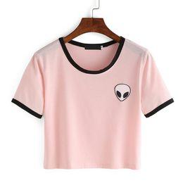 Wholesale Wholesale Hot Pink Tee Shirts - Wholesale-Pink White Fashion Women Alien T Shirt Summer Style Harajuku T-shirt Cute Graphic Print Tees Female Kawaii Tee Tops Hot Sale