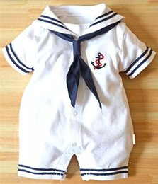 white navy uniforms Promo Codes - Newborn baby clothes White Navy Sailor uniforms summer baby rompers Short sleeve one-pieces jumpsuit baby boy girl clothing