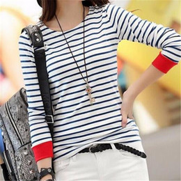 Wholesale New Arrival Women Shirt - Women Fashion T Shirt 2017 New Arrival Spring Striped O-neck Cotton Daily Casual Joker Full Plus Size Comfortable Simple Slim
