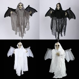 Wholesale Halloween Bat Wings - 56*54Cm New Arrival Halloween Hangings Sound Control Ghost Phantom Bats Hanging Luminous Eyes Moveable Wings Hanging Ghost Halloween Decor