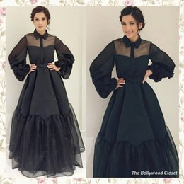 Wholesale Celebrity Inspired White Long Dresses - 2017 Black Celebrity Dresses inspired by The Bollywood Closet Sheer Ball Gown Poet Sleeves Satin Organza Floor Length Evening Gowns