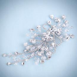 Wholesale Large Rhinestone Comb - Handmade Hair Jewelry Large Clear Crystal Bridesmaid Headdress Rhinestone Wedding Hair Comb Bridal Hair Vine Accessories