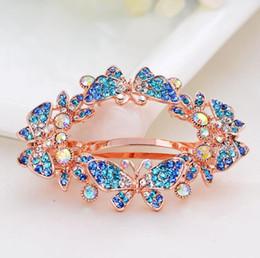 Horquillas de mariposa vintage online-Elegantes mujeres de la vendimia de cristal mariposa horquillas pinza de pelo Barrette banda de pelo accesorios para el regalo del banquete de boda 5 colores