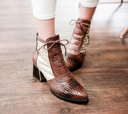 Wholesale Wedges Shoes Roman - Fashion Pointed toe Snake Print Cross tie Ankle Boot Hoof High Heels Short Boots Autumn Boots Shoes Summer Woman Shoe