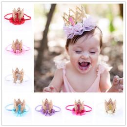 Wholesale Tiara Crown Child - Baby Birthday Crown headbands Kids Elastic Flower Headband Tiara Hairbands girls Children Hair Accessories Princess Party Headdress KHA281