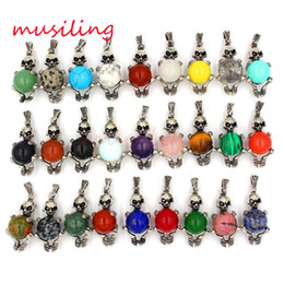 Wholesale Crystal Skull Rhinestone Necklace - Natural Gem Stone Skull Pendant Jewelry Silver Plated Pendulum Charms Amulet European Fashion Cool Mens Jewelry Mix Order