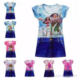 Wholesale Milk Silk Dress - Moana Baby Girls Dresses 2017 New Trolls Children Cartoon Clothing Beauty and the beast Printting Kids Belle Dress Milk Silk Princess Dress
