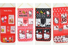 Wholesale Kawaii Wall - Wholesale- Size 50*40CM Approx. Kawaii Hello Kitty Wall Coin BAG Hanging Pouch BAG CASE Door & Bathroom Holder BAG Storage Case