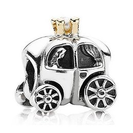 Wholesale Pandora Carriage - Authentic 925 Sterling Silver Bead Charm Fairytale Carriage With Gold Crown Beads Fit Women Pandora Bracelet DIY Jewelry HKA3176