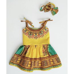 Wholesale Indian Outfits - Girls Indian style printing slip dress 2pc set headband+cute dress for 1-3T ins hot baby girls dress summer outfits
