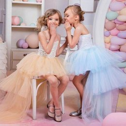 Wholesale High Glitz Pageant Dress Cupcake - 2018 Sky Blue Toddler Glitz Cupcake Pageant Dresses For Teens Ball Gown High Low Junior Bridesmaid Gowns Cheap Lace Flower Girl Dresses