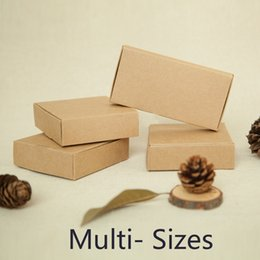 Wholesale Wholesale Paper Invitation Boxes - Wholesale-Kraft Paper Box for Wedding Invitation Card Gift Phone Shell Case CD Packaging Brown Boxes Free Shipping